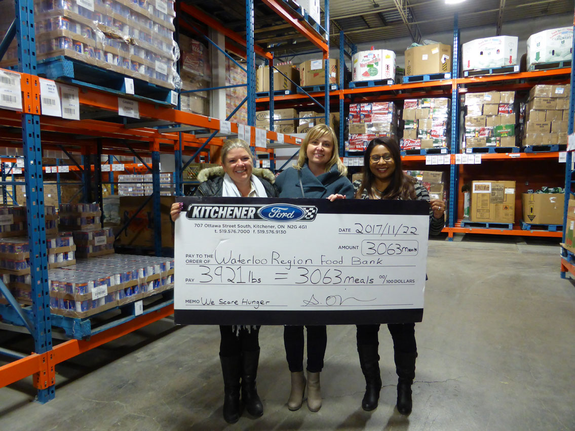 Kitchener Ford Raises 3063 meals for the We Scare Hunger Campaign to be donated to The Food Bank of Waterloo Region!